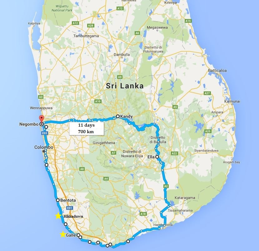 11 giorni days sri lanka map