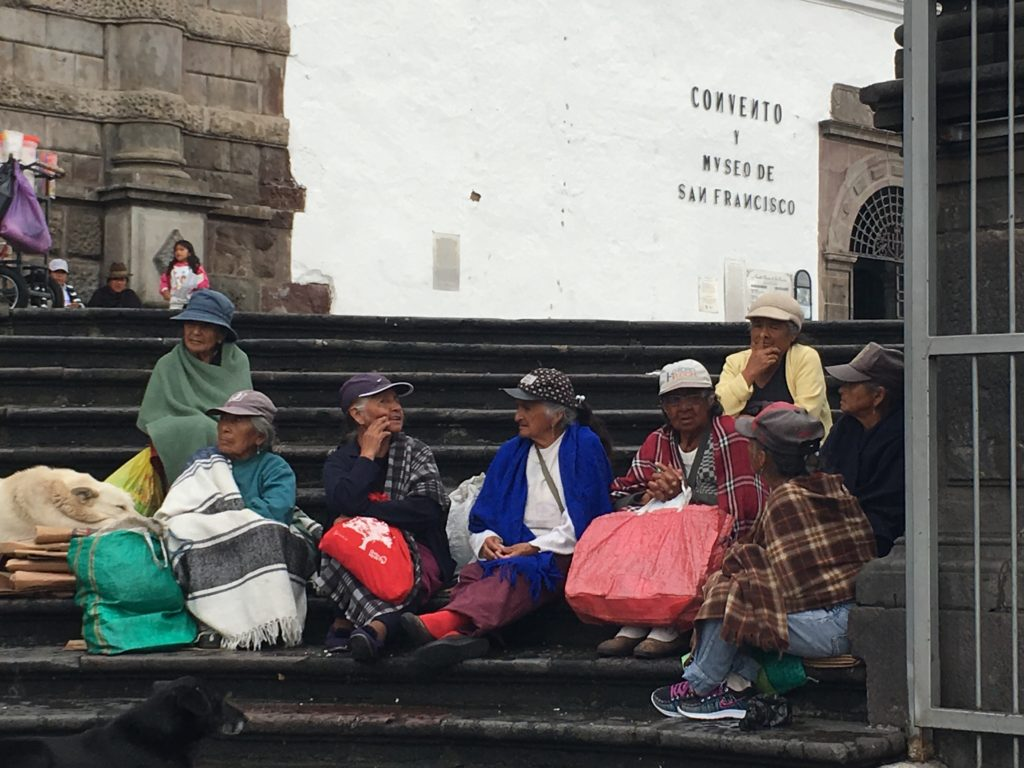 women outside church Ecuador